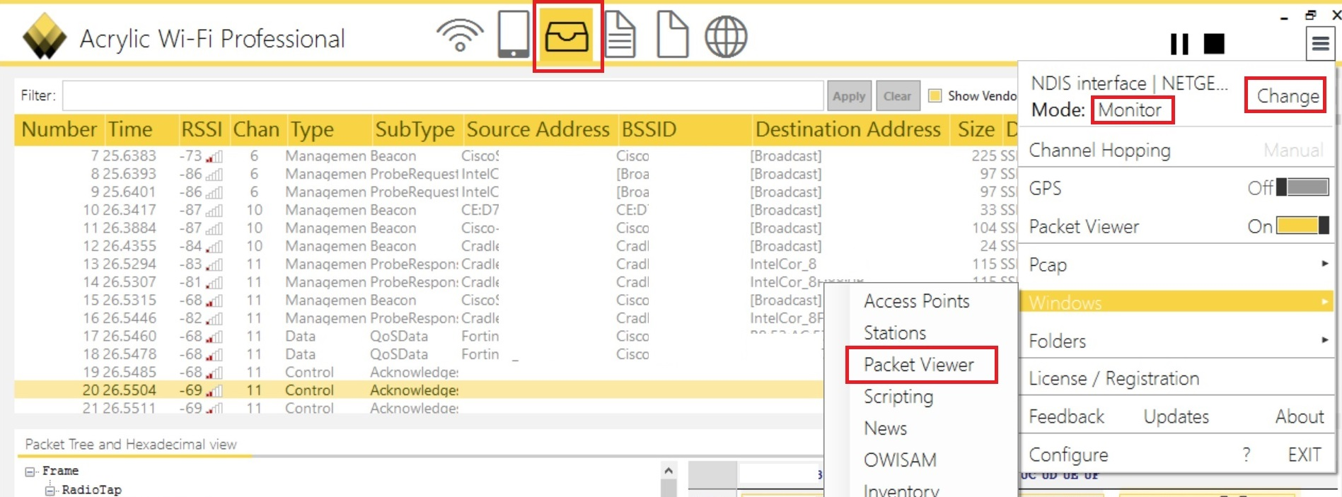 Capturing 802.11 management frames on Windows using Acrylic WiFi Pro ...